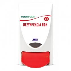 Dozownik DEB do preparatów przeznaczonych do dezynfekcji dłoni (opis w języku polskim) - pojemność 1 litr
