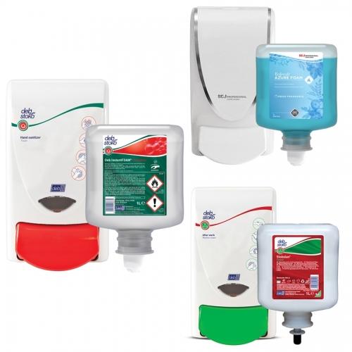 Zestaw higiena i pielęgnacja (duży): mydło, dezynfekcja, krem pielęgnacyjny (każdy o poj. 1 litra) + dozowniki