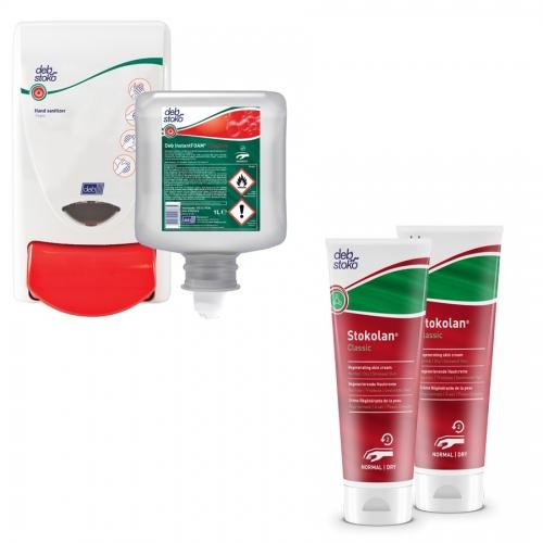Zestaw dezynfekcja i pielęgnacja: preparat do dezynfekcji 1 litr i dozownik + 2x krem pielęgnacyjny 100 ml