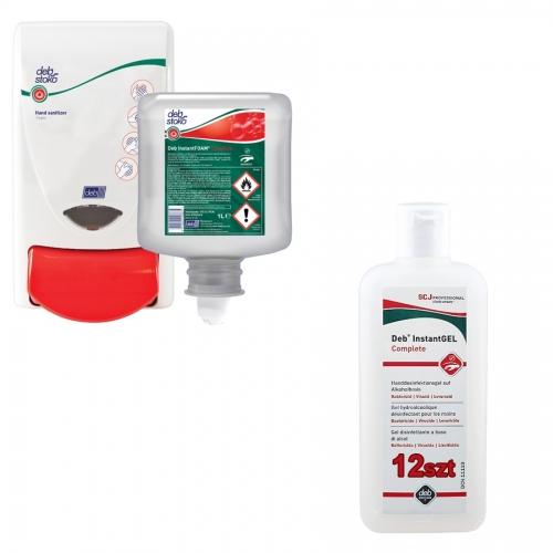 Zestaw dezynfekcja: preparat do dezynfekcji w pianie 1 litr + dozownik + 12x dezynfekcja w żelu 100 ml